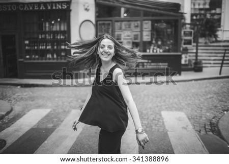 beautiful girl in Paris - stock photo