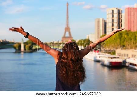 Beautiful girl in Paris, France - stock photo
