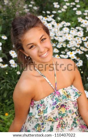beautiful girl in park, closeup - stock photo