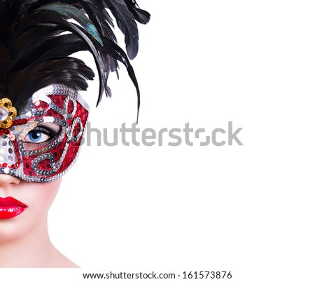 Beautiful girl in red carnival mask on white background - stock photo