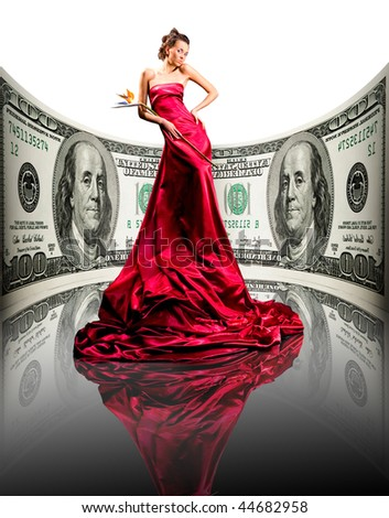 Beautiful girl in red dress, money. 100 american dollars - stock photo