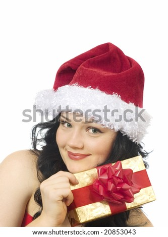 beautiful girl in santa claus hat and gift box - stock photo