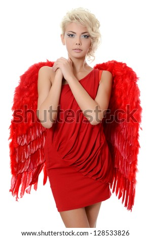 Beautiful girl in suit of red angel - stock photo