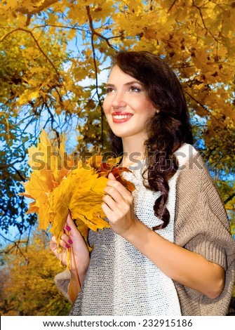 beautiful girl in the autumn forest