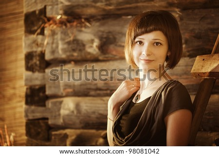 Beautiful girl in the countryside. - stock photo