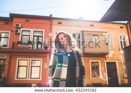 beautiful girl in the houses - stock photo
