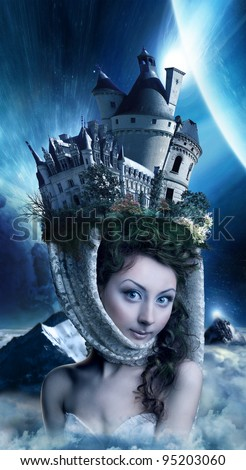 beautiful girl in the moonlight with a lock on the head - stock photo