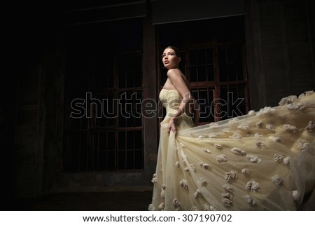 Beautiful girl in the studio - stock photo