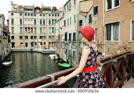 beautiful girl in Venice - stock photo