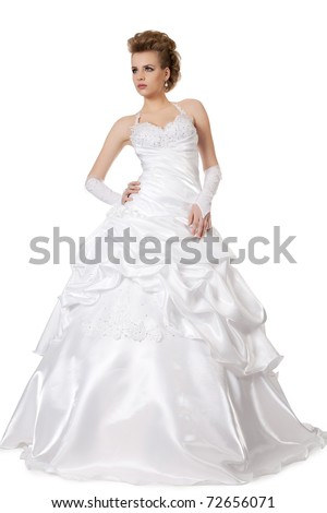 beautiful girl in wedding dress isolated on white - stock photo