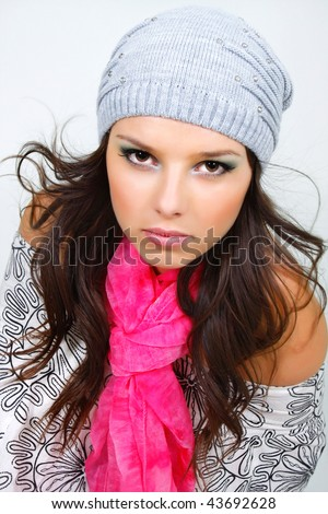 beautiful girl in wither clothes and bright scarf