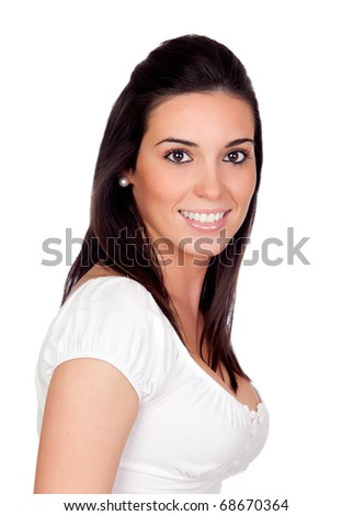 Beautiful girl isolated on a over white background - stock photo