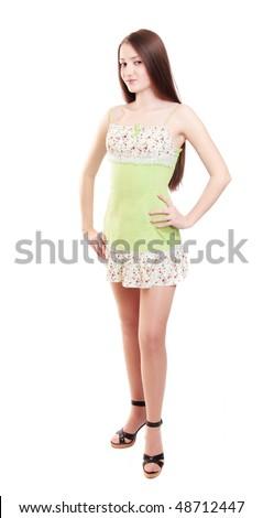 beautiful girl isolated on white - stock photo