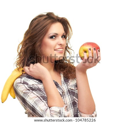 beautiful girl isolated on white background holding a apple and banana