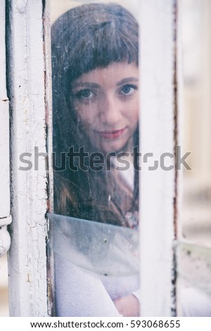 Beautiful Girl Looking Through Dirty Glass Stock Photo Safe To Use