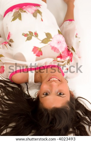 beautiful girl lying and smiling