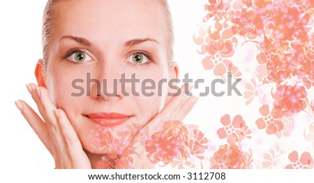 Beautiful girl massages her face - stock photo