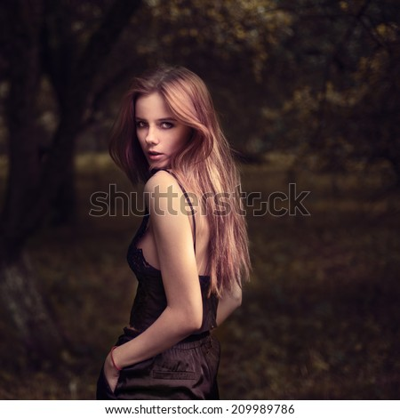 beautiful girl model in summer park - stock photo