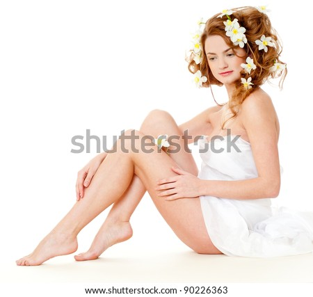beautiful  girl on a white - stock photo