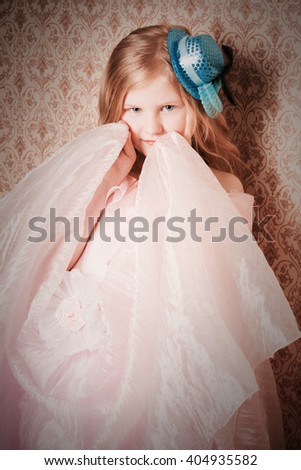 beautiful girl on background wall - stock photo