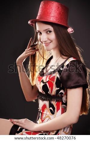 beautiful girl on black background - stock photo