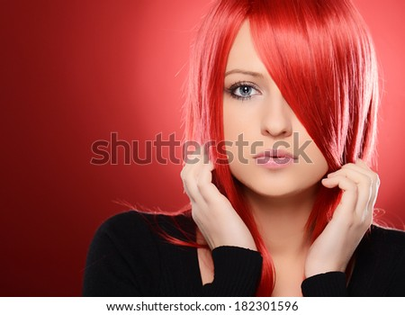 Beautiful Girl on red background