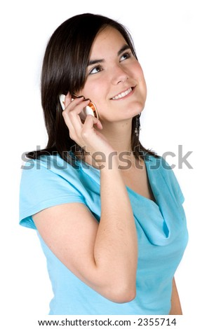 beautiful girl on the phone over a white background