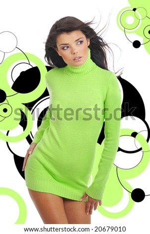 Beautiful girl over abstract modern round design background - stock photo