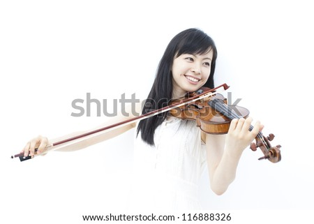 beautiful girl playing the violin, isolated on white background - stock photo