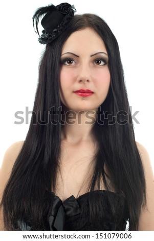 Beautiful girl portrait studio shot. Gothic style clothing - stock photo