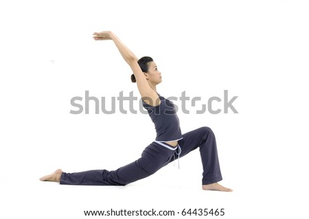 Beautiful girl practicing yoga on isolated - stock photo
