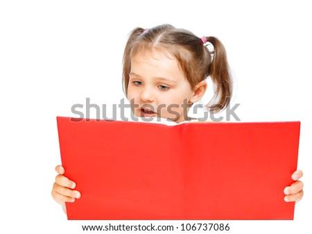 beautiful girl reading a book - stock photo