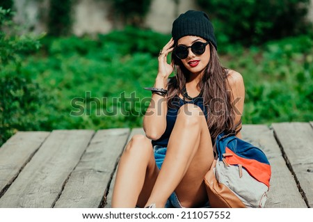 beautiful girl resting in the park