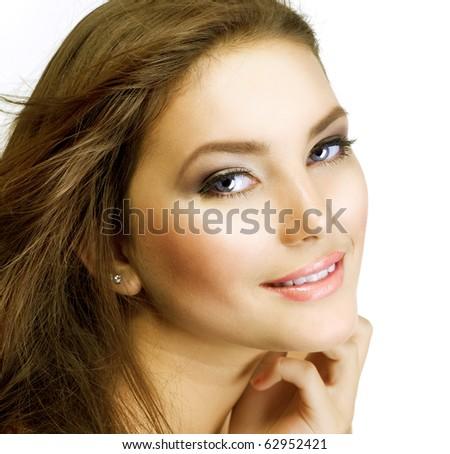 Beautiful Girl's Face. Natural Beauty. Perfect skin - stock photo
