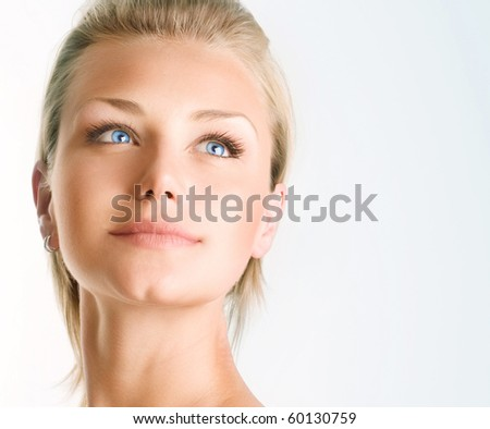 Beautiful Girl's face.Perfect Clear skin - stock photo