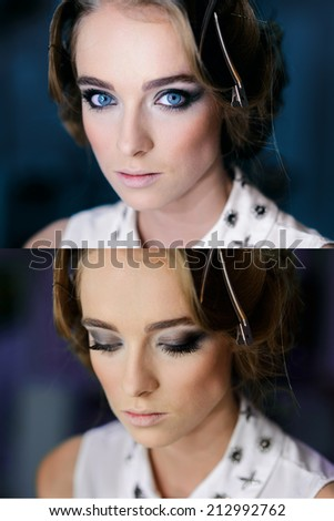 Beautiful girl's face with Perfect Makeup smoky eyes. Opened and closed blue eyes. - stock photo