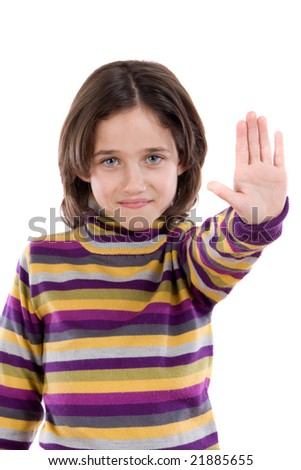 Beautiful girl saying stop with her hand on a white background - stock photo
