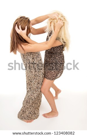 beautiful girl sisters swear and fight isolated - stock photo
