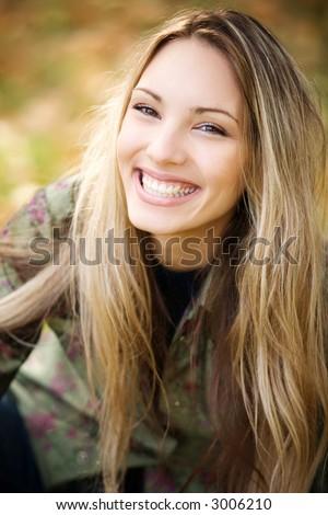 beautiful girl smiling - stock photo