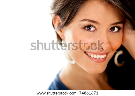 Beautiful girl smiling - isolated over a white background - stock photo