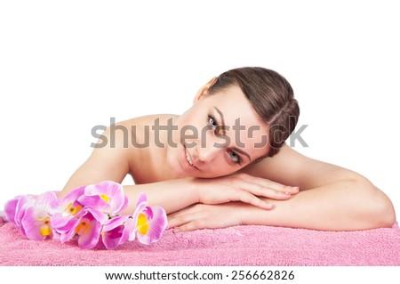 beautiful girl spa treatments - stock photo