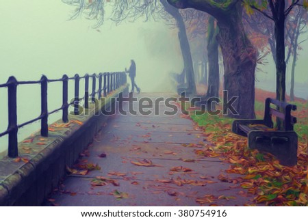 Beautiful girl standing beside railing of pedestrian walkway on misty autumn day. - stock photo