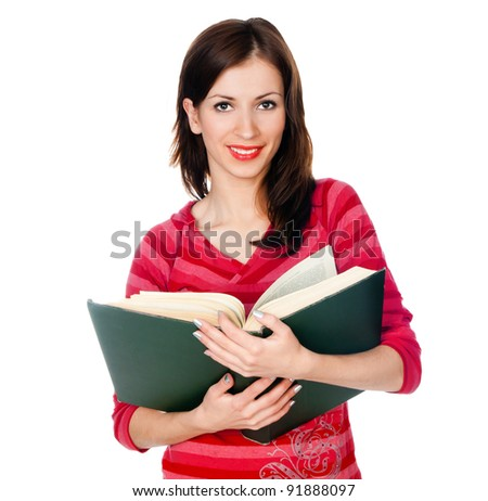beautiful girl student reading a book on a white background