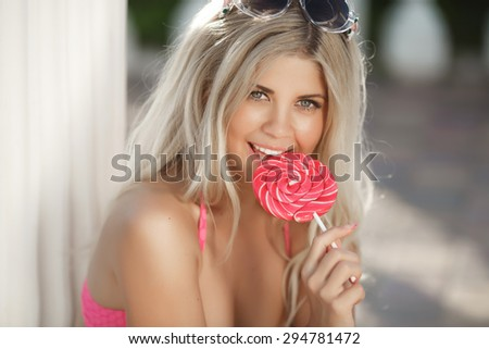 Beautiful girl summer portrait, fashionable young woman funny smiling, sexy bikini woman resting at beach, glamour blonde lady outdoors portrait summertime vacation, series in portfolio - stock photo