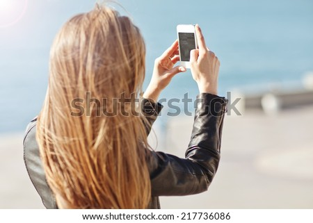 Beautiful girl taken pictures of her self, instagram - stock photo