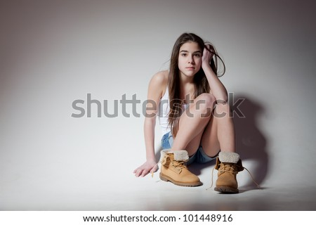 beautiful girl teen brunette with hazel eyes - stock photo