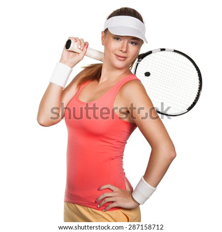 Beautiful girl tennis player with a racket on isolated white background. Tennis advertisement. - stock photo