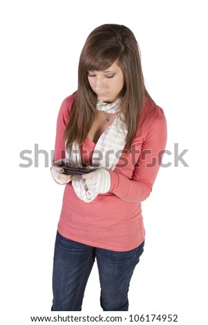 Beautiful Girl Texting on an Isolated Background - stock photo