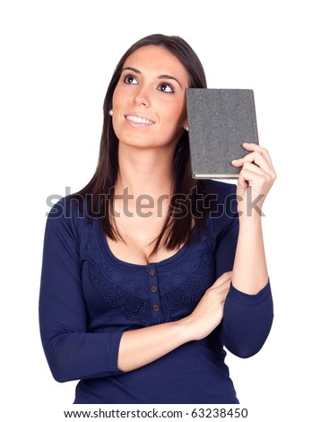 Beautiful girl thinking with a book isolated on a over white background