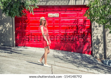 Beautiful girl walking - stock photo